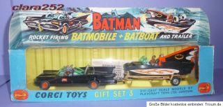 Corgi Gift Set Nr.3 Batmobile + Batboat on Trailer, 1966, im OK