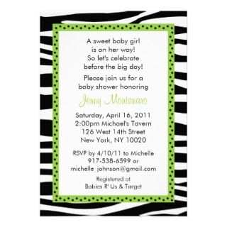 Trendy Zebra Print Green Baby Shower Invitations invitations by little