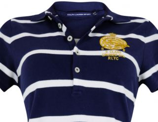 RALPH LAUREN SPORT Damen Kleid Julie Polo Crest Stripe Navy   Größe