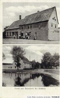 Baasdorf bei Köthen, Ak mit Landpoststempel von 1938