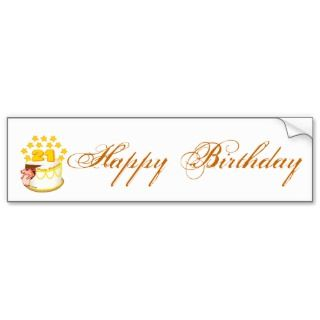 21 Year Old Birthday Cake Mouse Bumper Sticker