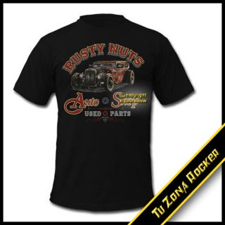Camiseta t shirt Hot Rod Car Rusty Nuts Auto Shop   Harley Custom