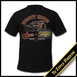 Camiseta t shirt Hot Rod Car Rusty Nuts Auto Shop   Harley Custom
