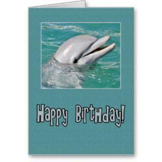 Cute dolphin happy birthday greeting cards