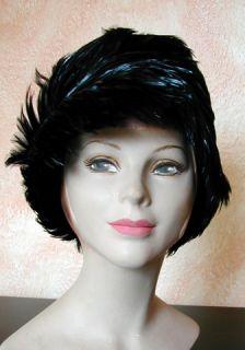 Vintage Damenhut,Topf Hut Federn schwarz 40s Cloche Bucket Hat