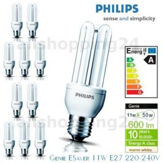 Philips GENIE 11W ENERGIESPARLAMPEN Warmweiß E27 Birnen