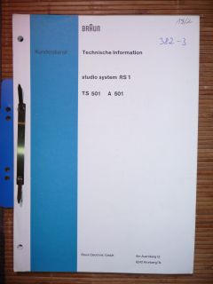 Service Manual Braun Studio System RS 1/TS 501/A 501,ORIGINAL