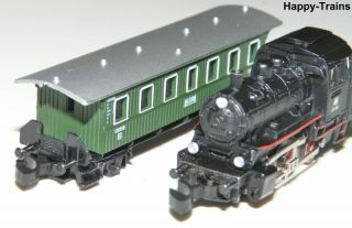 2x Märklin Mini Club / Dampflok 8800 BR 89 + Personenwagen 8700 Spur