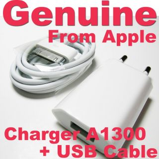 Genuine Apple iPhone 4 4S 4GS 3 3GS EU Charger Adapter+USB Cable A1300