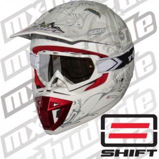 SHIFT AGENT Motocross Helm Weiss Größe XXL   Two X Brille weiss