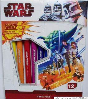 12x Star Wars Clone Farbstifte Filzstifte Fasermaler