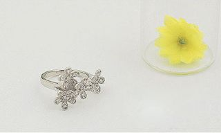 F4541 Crystal Flower Silver Ring Size5,Ring Jewelry