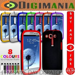HYBRID SILICONE CASE SKIN COVER +MINI STYLUS FOR SAMSUNG GALAXY S3