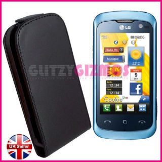 LEATHER FLIP COVER CASE POUCH FOR LG KM570 COOKIE MUSIC