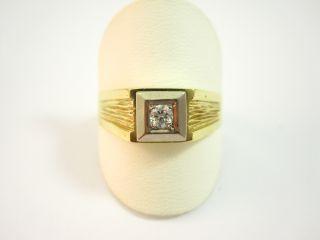 Herren Ring mit Brillant in 585 Gelbgold/ Weißgold
