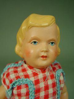 P568/ alte Minerva Puppenstuben Celluloid Puppe um 1930 ca. 14 cm
