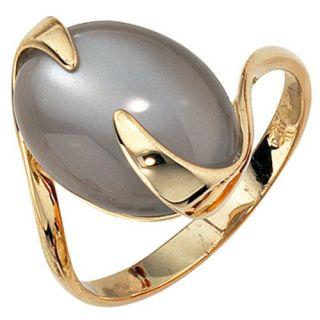 Goldring Damenring mit Mondstein, 585 Gold Gelbgold, elegant, Damen