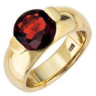 Ring Damenring mit Granat, 585 Gold Gelbgold, glänzend für Damen