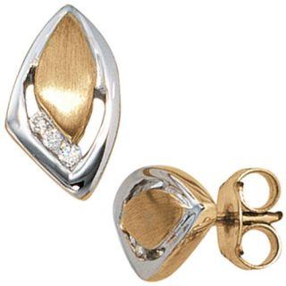 Ohrstecker aus 585 Gelbgold & Weißgold, mit 6 Diamanten Brillanten
