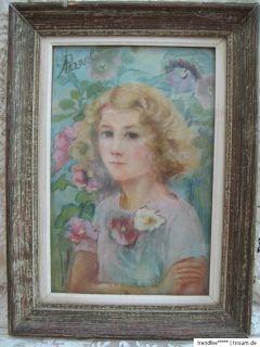 FRANKREICH Jugendstil GEMÄLDE Pastell MÄDCHEN Portrait signiert A