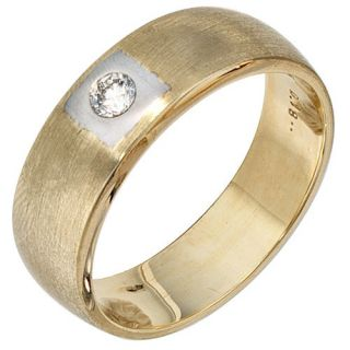 Herrenring Ring mit Diamant Brillant, 585 Gold Gelbgold, Männer
