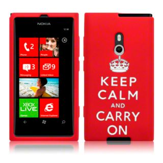 KEEP CALM & CARRY ON Silicone Case For Nokia Lumia 800 / Red & Screen