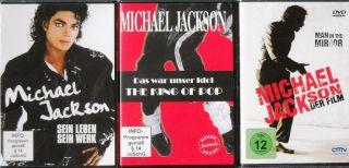 Dreierpack   DVD   Michael Jackson   NEU (Sein Leben sein Werk) Dokus