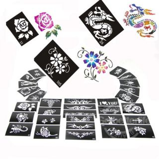 50 Sheets Stencils for Body Painting Glitter Tattoo Kit