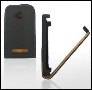 Handy Tasche Leder Schwarz Für Nokia Lumia 610 Etui Case *