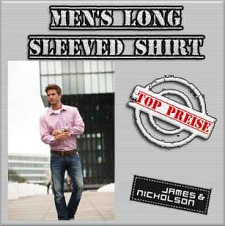 James & Nicholson Mens Long Sleeved Shirt Herren Hemd Bügelfrei JN613