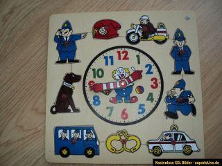 Holzpuzzle Spiellernuhr Lernuhr Polizei Auto Hund Holz Puzzle