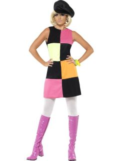 Swinging 60s Sixties Ladies Fancy Dress Costume & Hat