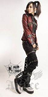 Punk Rave Visual Kei Lolita Gothic Rocker Jacke weinrot Kunstleder