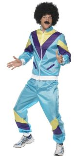 Shell Suit 80s Scouser Fancy Dress Tracksuit Mens Costume Adult Outfit