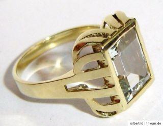 Ring 585 Gold echter Aquamarin rechteckig facettiert ANTIK Handarbeit
