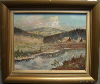 EXPRESSIONIST °TAG IM GEBIRGE° FLUßLAUF ANTIQUE OIL PAINTING