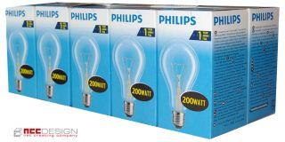 10 x Philips Glühlampe Glühbirne 200W 200 Watt klar E27 Glühbirnen