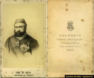 Türkei Sultan Abd Ul Aziz Hart Photo in Paris RRR