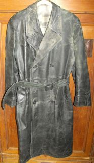 Alter Wehrmacht Herren Ledermantel Uniform Mantel Leder Grün WK2 WW2