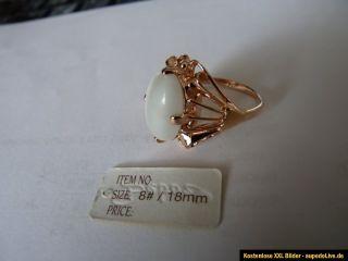 Damenring Rotgold Ring Damen mit weißen Stein 1cm x 0,5cm NEU Gr. 18