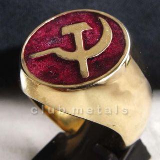 SOVIET RUSSIAN COMMUNIST HAMMER & SICKLE MENS BRONZE RING Ruby Red