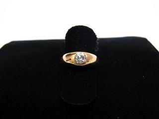 R708 585er 14kt Rotgold Gold Ring Bandring mit Altschliff Brillant