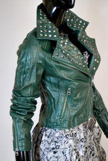 stylische Biker Leder Jacke,Punk Rock,Nieten,Nappa Lederimitat Vintage