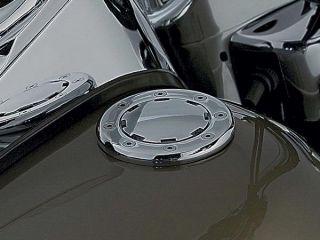 Cooler, flacher Tankdeckel von Küryakyn. Hergestellt aus verchromten