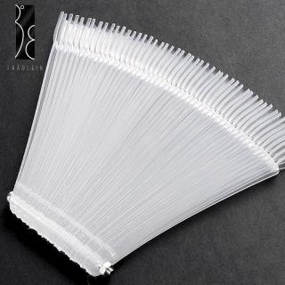 50x clear False Nail Art Tips Sticks polish Display Fan 4 Practice