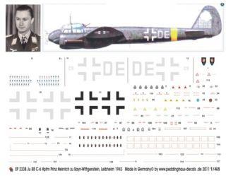 48 Decals für eine Ju 88 C 6 Hptm Wittgenstein 43