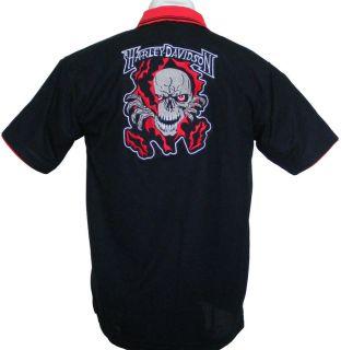 Biker Skull Shirt Polo Shirt Gr. (XXL) Motiv 1a gestickt