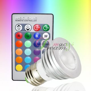 3W E27 Remote Control LED Bulb Light 16 Color Changing