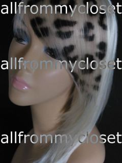 BLONDE PINK RED LEOPARD PRINT FRINGE HAIR EXTENSIONS