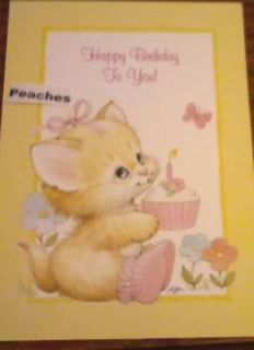 Ruth Morehead Cat with Cupcake Birthday Greeting Card